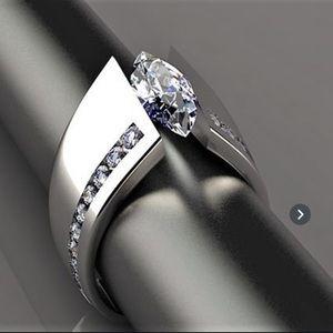 B3G1 Modern Silver & Sapphire Fashion Ring